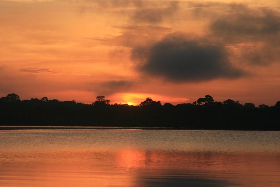 Lever du soleil sur le Rio Négro